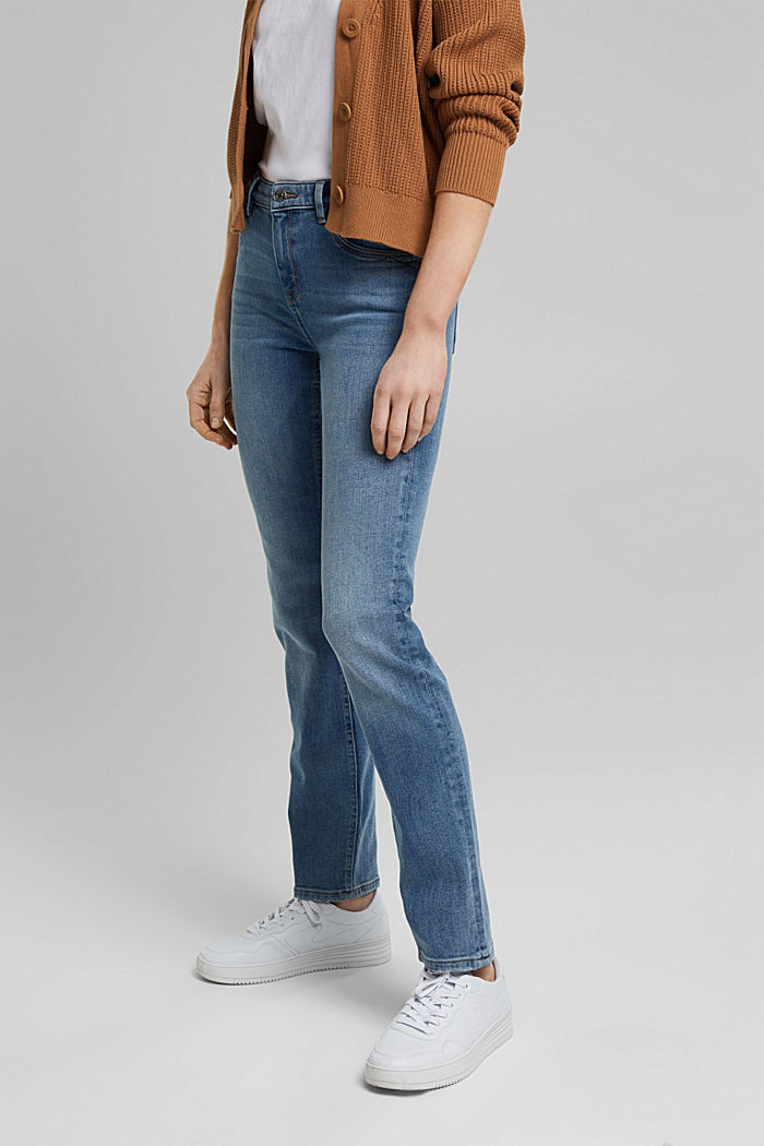 Stretch jeans with organic cotton, BLUE DARK WASHED, detail image number 0