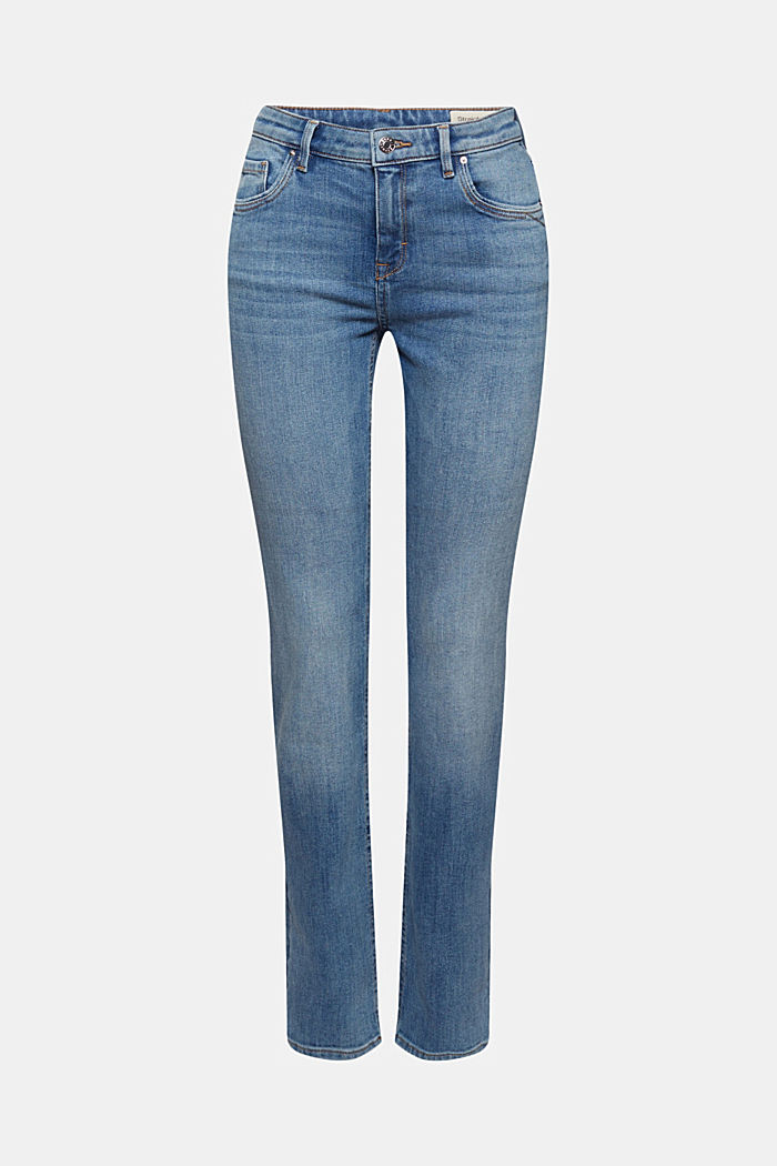 Stretch jeans with organic cotton, BLUE DARK WASHED, detail image number 6