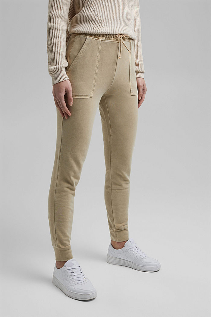 Tracksuit bottoms in 100% organic cotton, SAND, detail image number 0