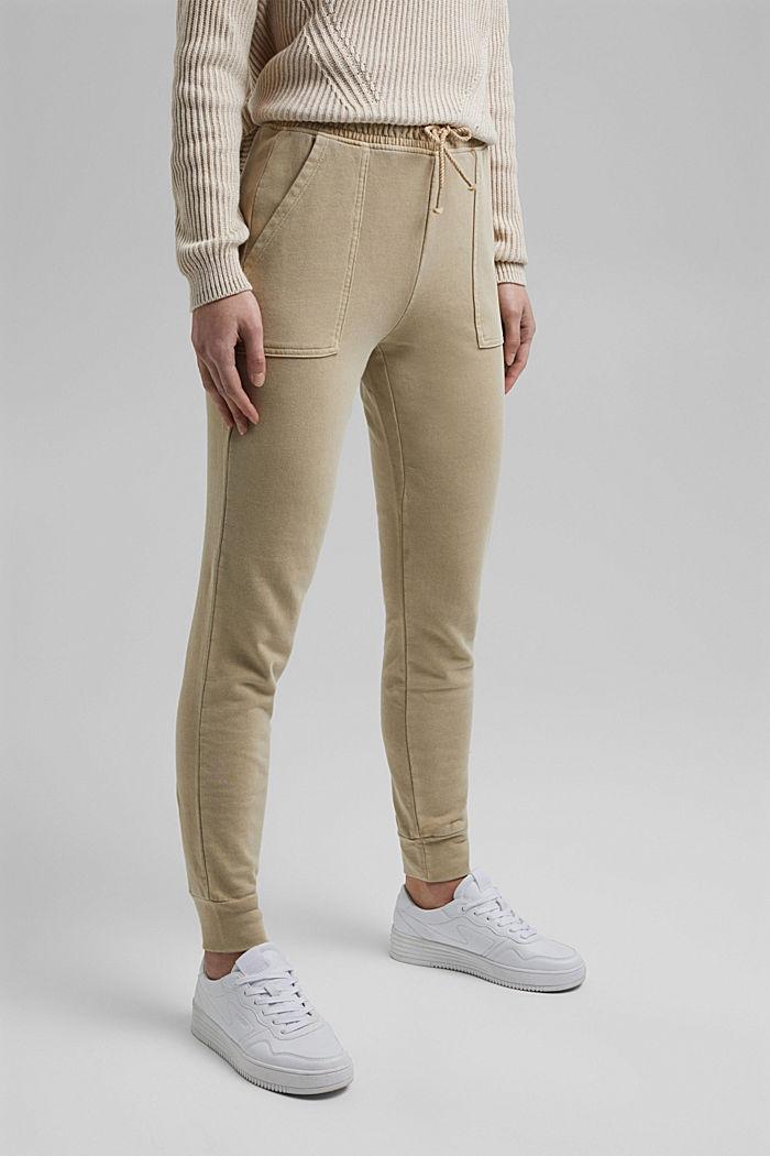 Pantalon molletonné, 100% coton bio, SAND, detail image number 0