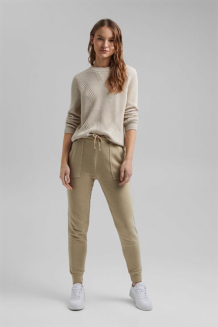 Pantalon molletonné, 100% coton bio, SAND, detail image number 6