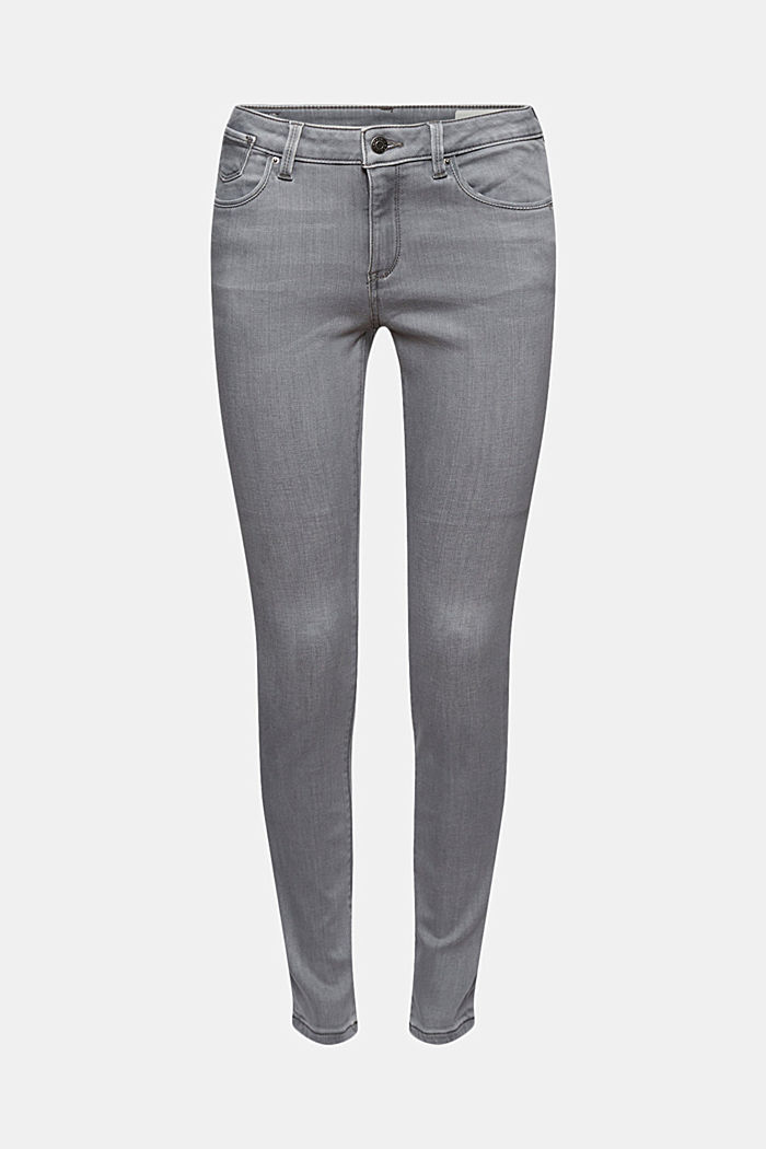 Stretchjeans met biologisch katoen, GREY LIGHT WASHED, detail image number 7