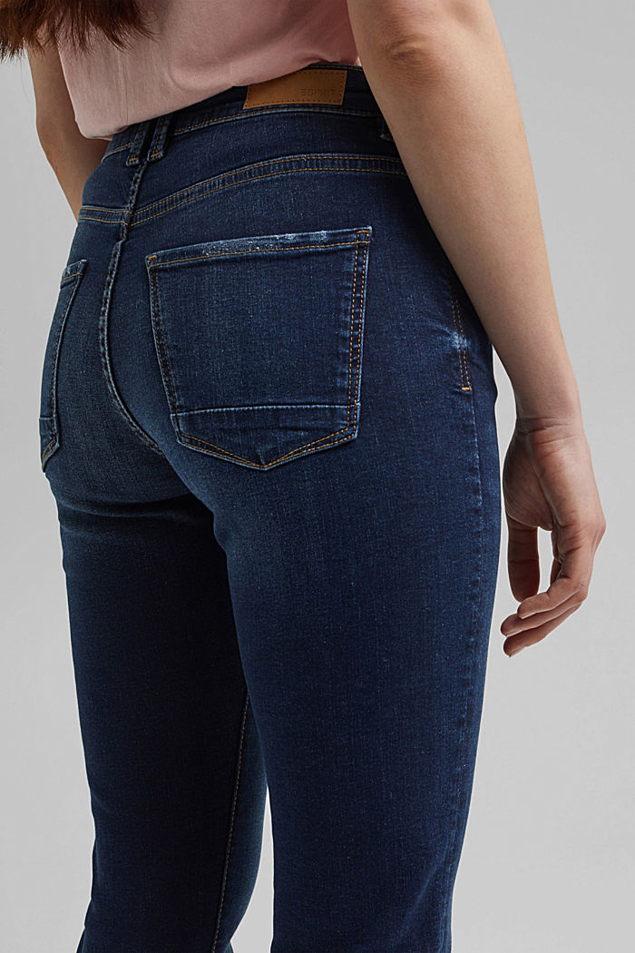 Stretch jeans with a washed effects, BLUE DARK WASHED, detail image number 5