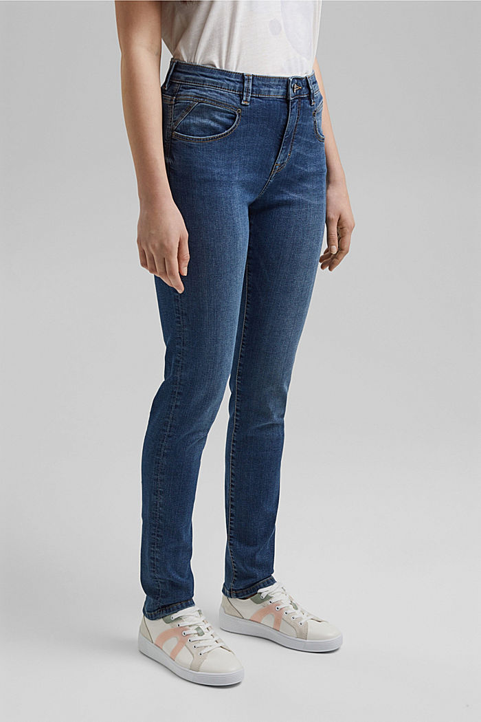 Stretch jeans with a washed effects, BLUE MEDIUM WASHED, detail image number 0