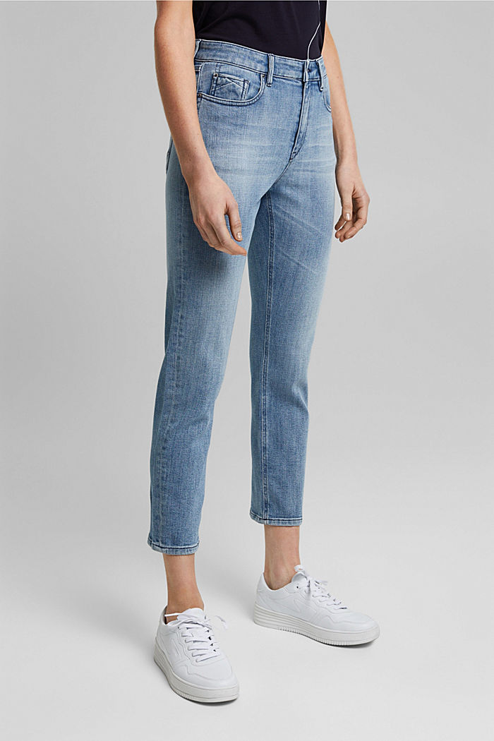 Organic cotton cropped jeans, BLUE LIGHT WASHED, detail image number 0