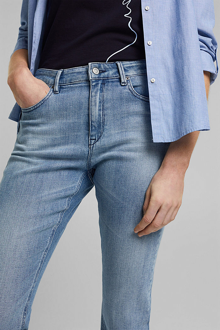 Organic cotton cropped jeans, BLUE LIGHT WASHED, detail image number 2