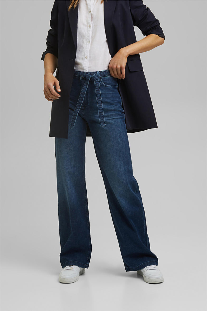 Blended organic cotton jeans with a tie-around belt
