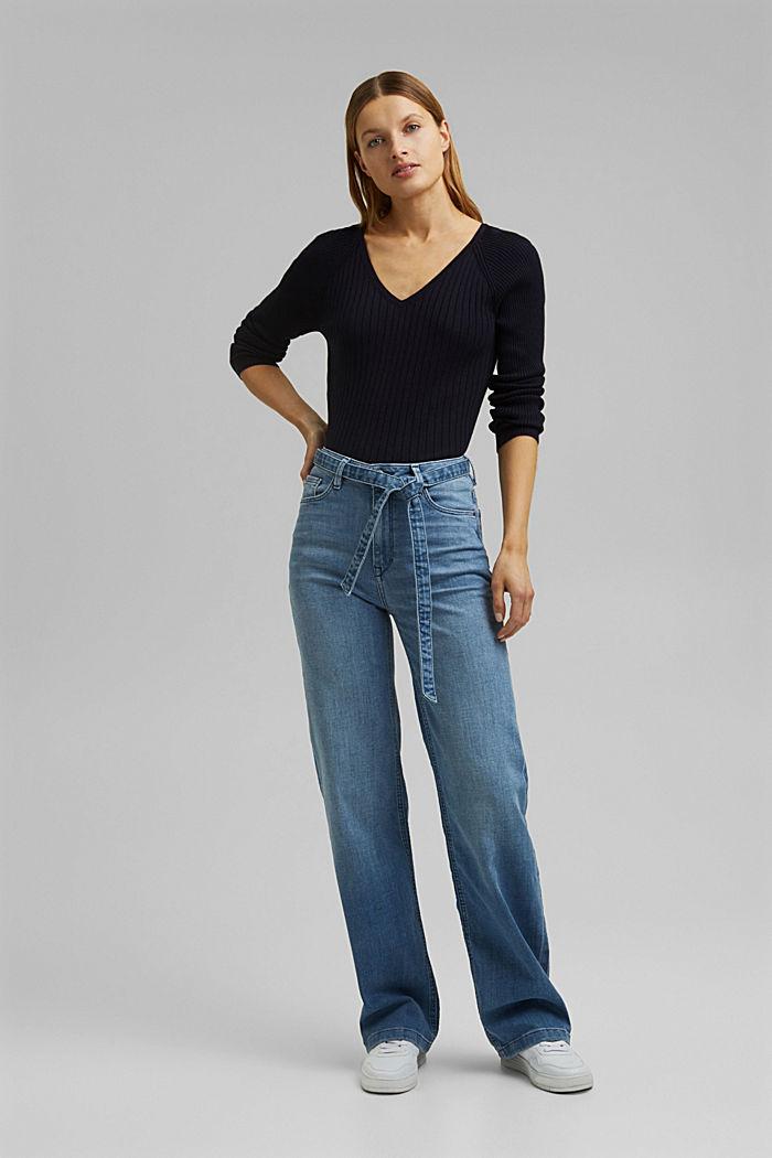 Jeans mit Bindegürtel und Bio-Baumwolle, BLUE LIGHT WASHED, detail image number 1