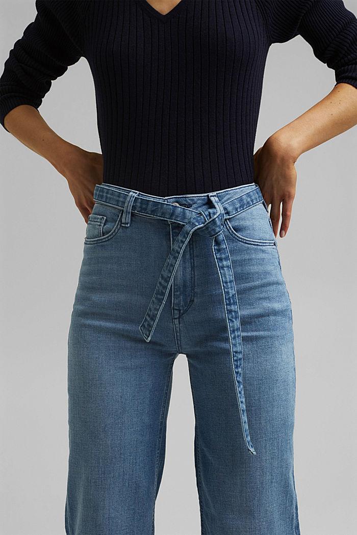 Jeans mit Bindegürtel und Bio-Baumwolle, BLUE LIGHT WASHED, detail image number 2