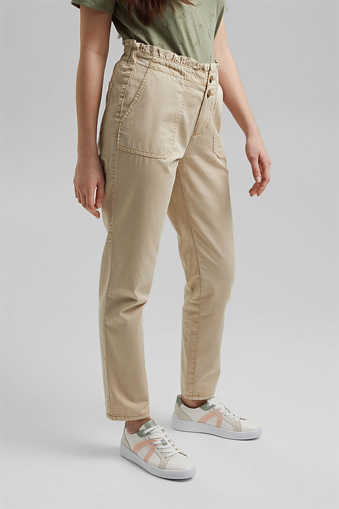 Paperbag trousers with feminine ruffles, BEIGE, detail image number 0