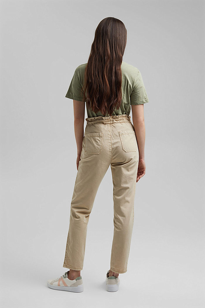 Paperbag trousers with feminine ruffles, BEIGE, detail image number 3