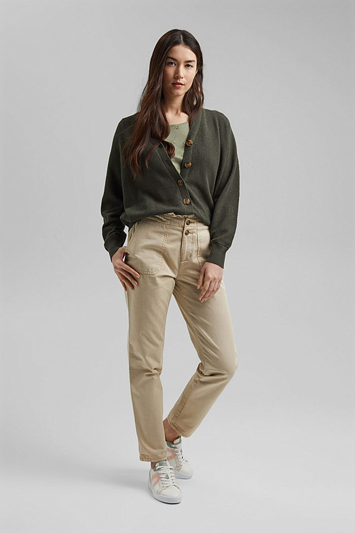 Paperbag trousers with feminine ruffles, BEIGE, detail image number 1