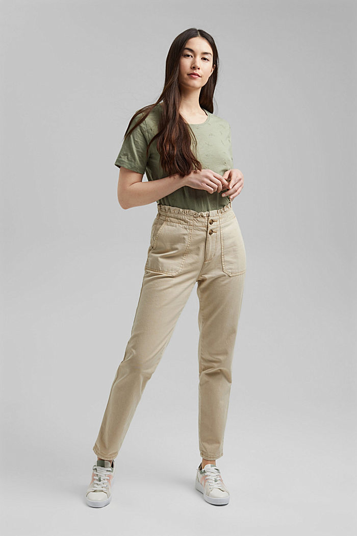 Paperbag trousers with feminine ruffles, BEIGE, detail image number 6