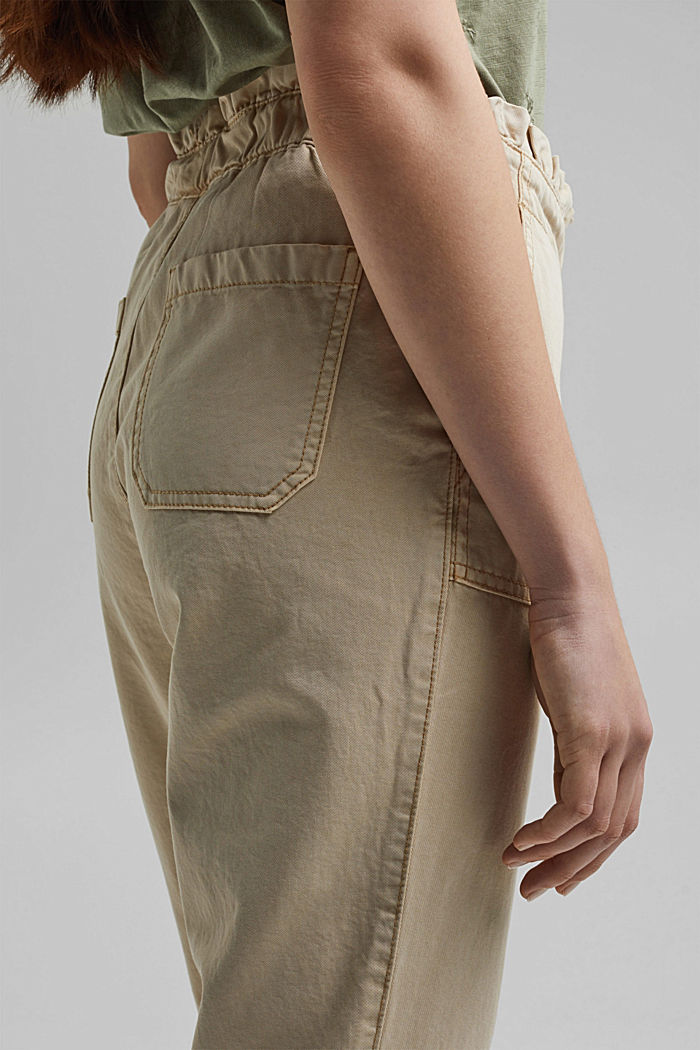 Paperbag trousers with feminine ruffles, BEIGE, detail image number 5