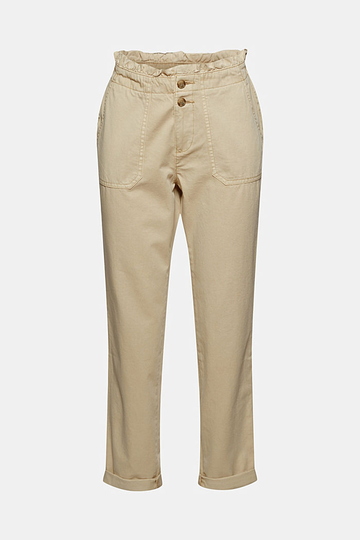 Paperbag trousers with feminine ruffles, BEIGE, detail image number 7