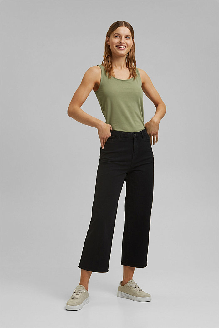 Stretch trousers with a wide leg, organic cotton, BLACK, detail image number 0