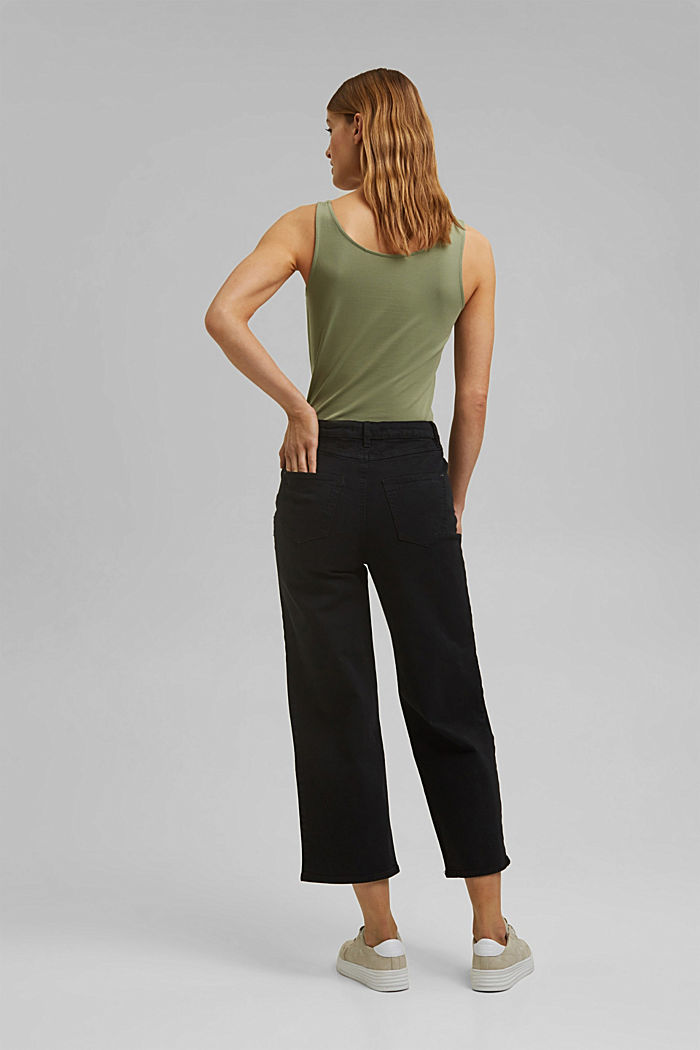 Stretch trousers with a wide leg, organic cotton, BLACK, detail image number 3