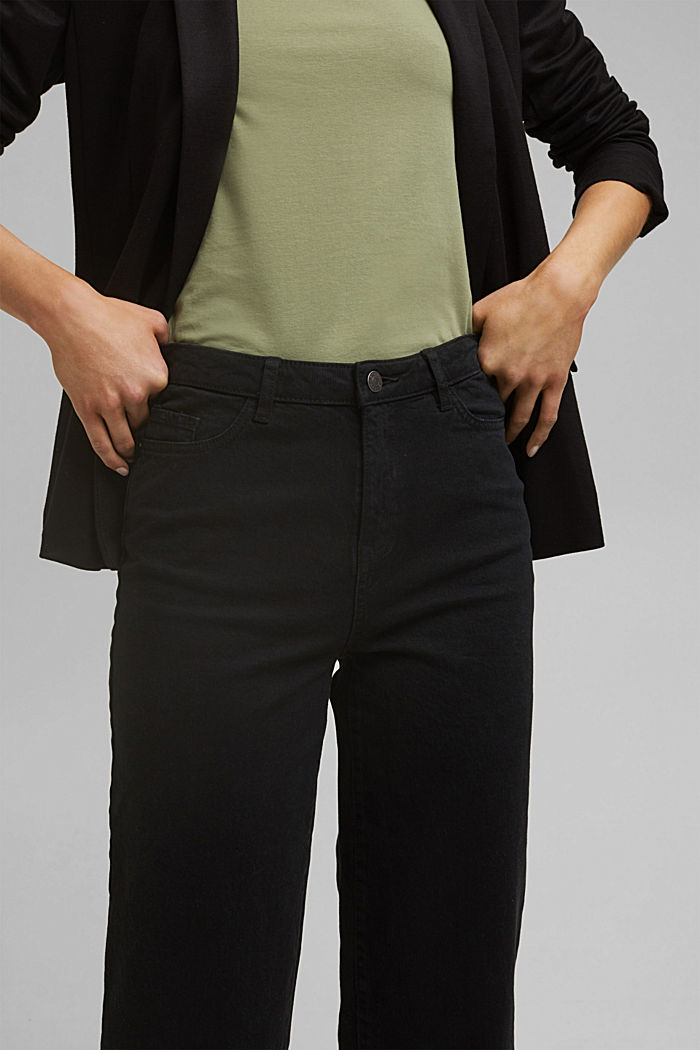 Stretch trousers with a wide leg, organic cotton, BLACK, detail image number 2