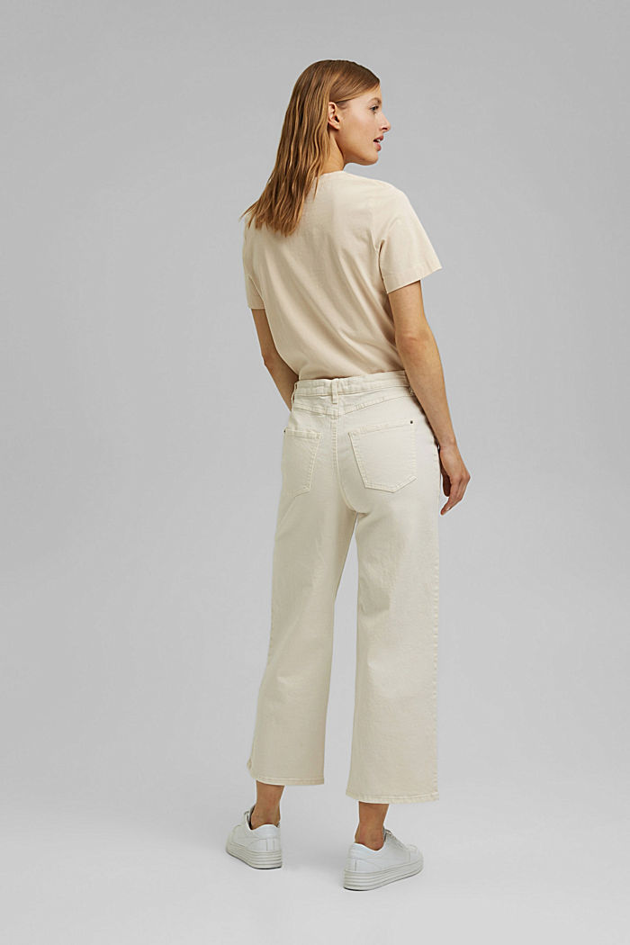 Stretch trousers with a wide leg, organic cotton, OFF WHITE, detail image number 3
