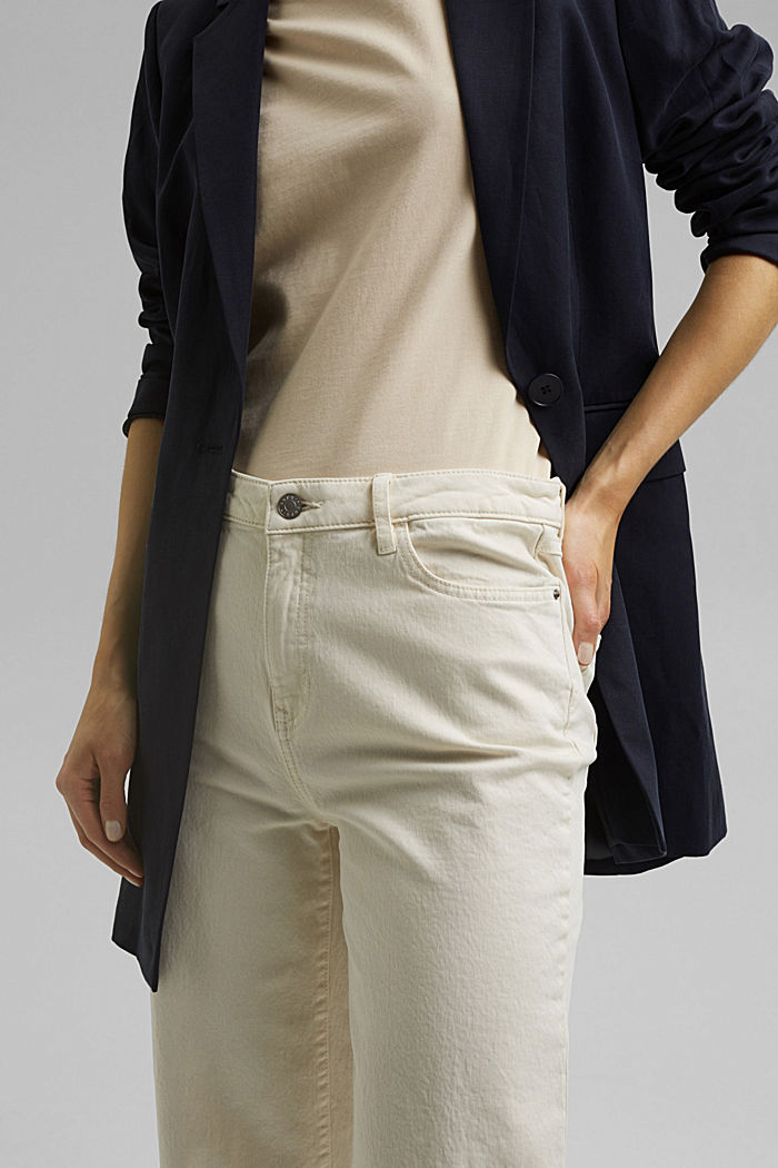 Stretch trousers with a wide leg, organic cotton, OFF WHITE, detail image number 2