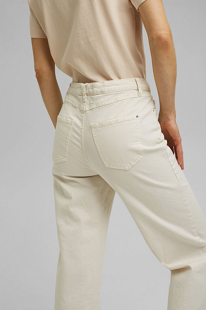 Stretch trousers with a wide leg, organic cotton, OFF WHITE, detail image number 4