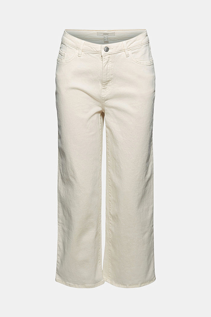 Stretch trousers with a wide leg, organic cotton, OFF WHITE, detail image number 5