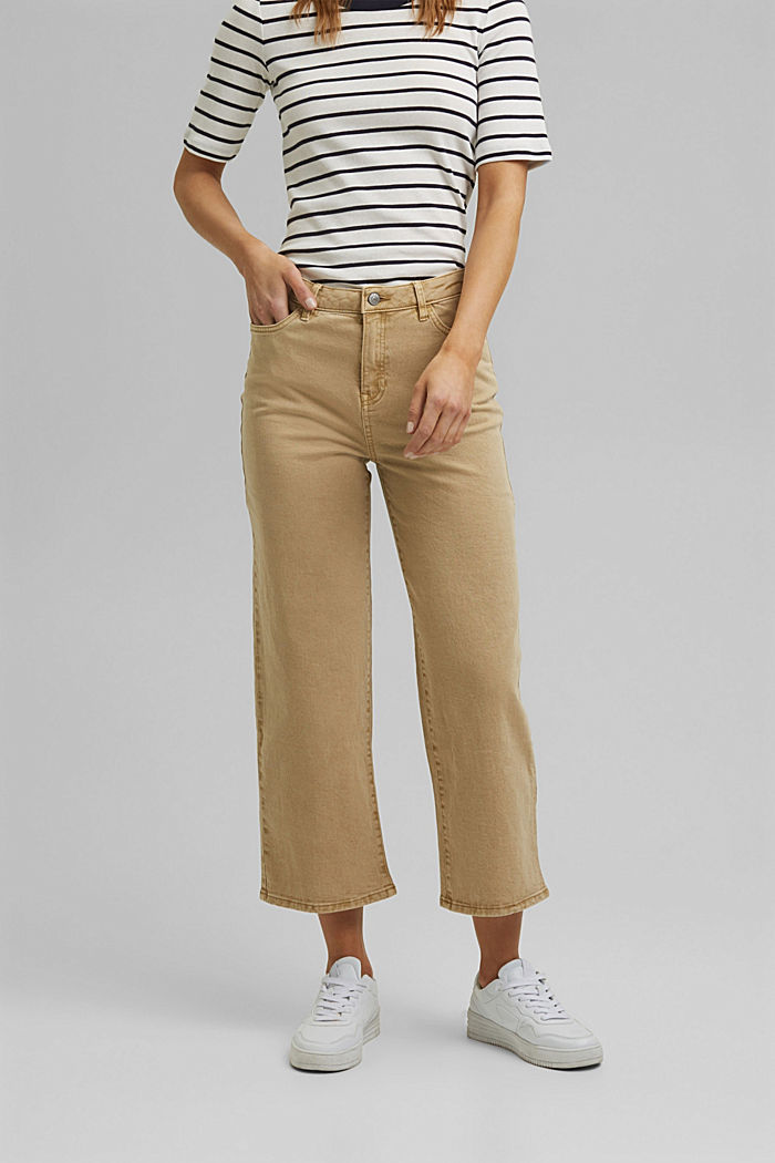 Stretch trousers with a wide leg, organic cotton, SAND, detail image number 0