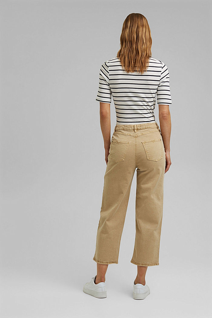 Stretch trousers with a wide leg, organic cotton, SAND, detail image number 3