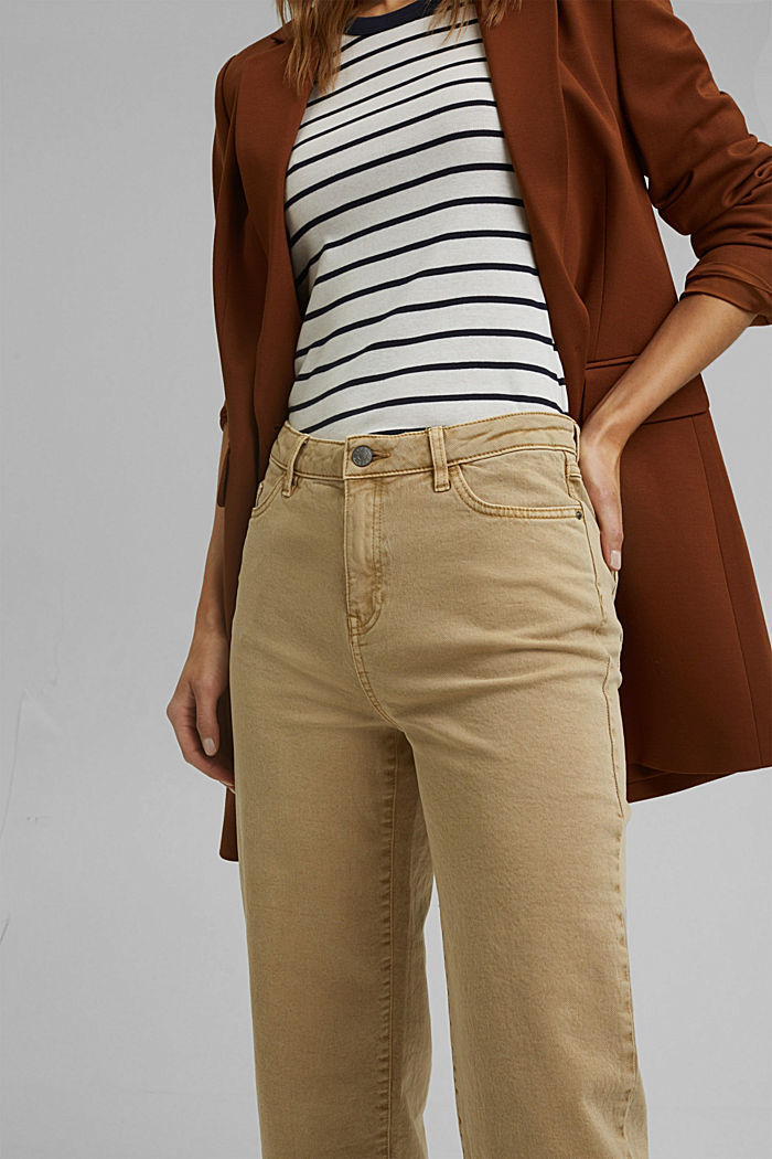 Stretch trousers with a wide leg, organic cotton, SAND, detail image number 2