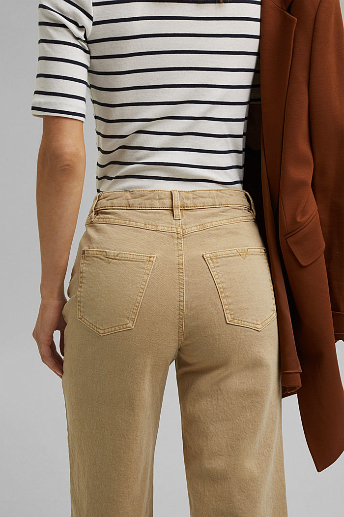 Stretch trousers with a wide leg, organic cotton, SAND, detail image number 5