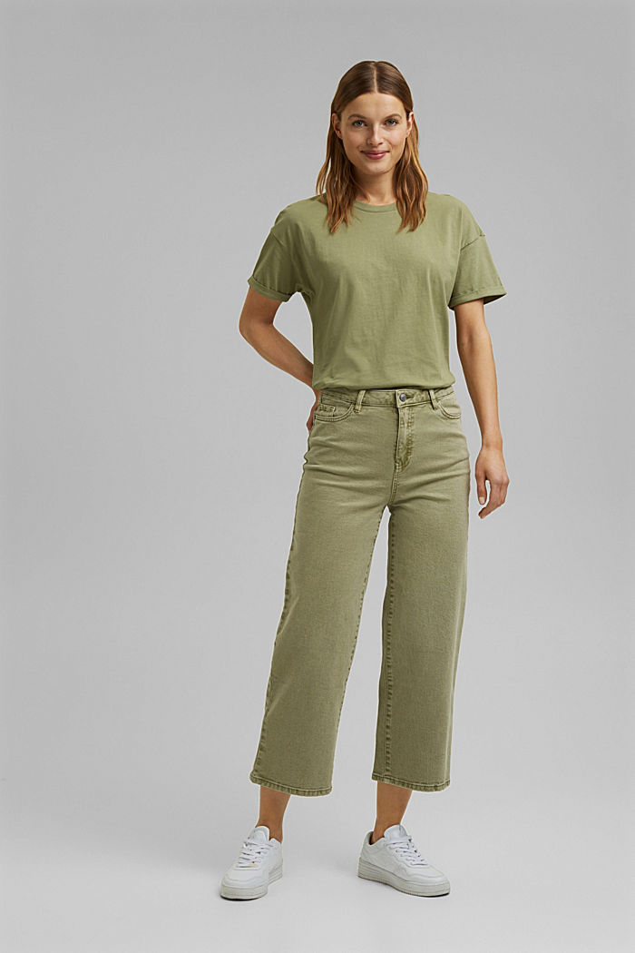 Stretch trousers with a wide leg, organic cotton, LIGHT KHAKI, detail image number 0
