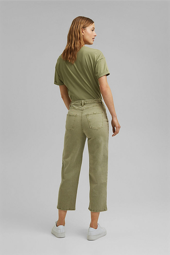 Stretch trousers with a wide leg, organic cotton, LIGHT KHAKI, detail image number 3