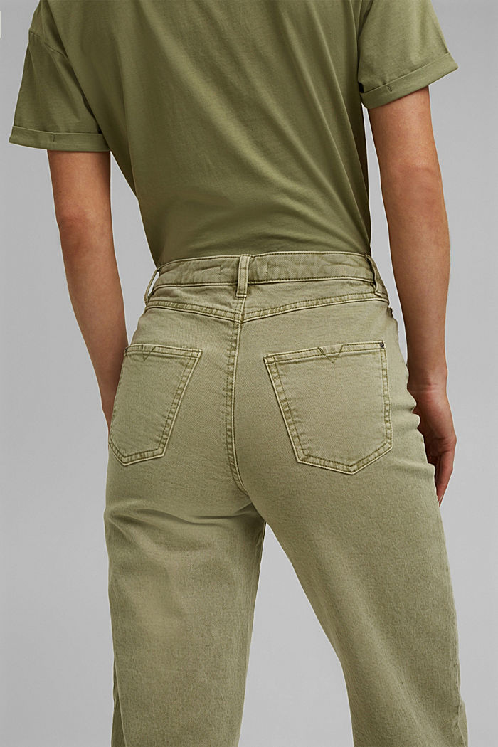 Stretch trousers with a wide leg, organic cotton, LIGHT KHAKI, detail image number 2