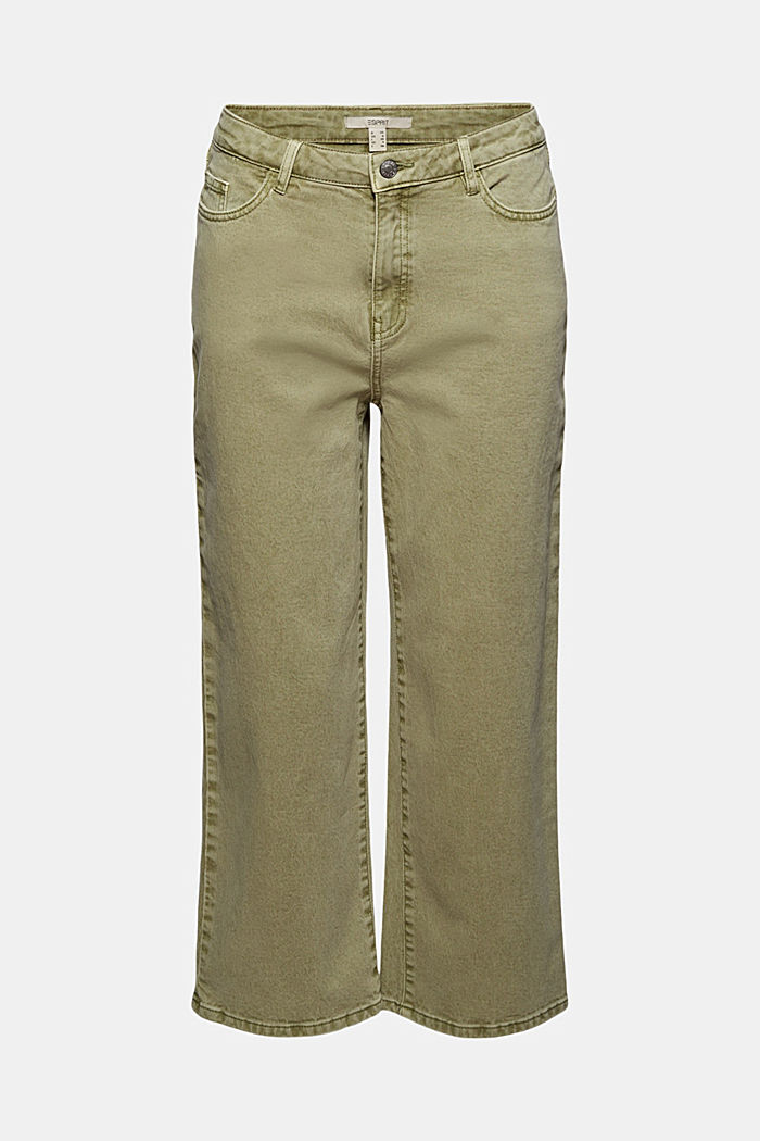 Stretch trousers with a wide leg, organic cotton, LIGHT KHAKI, overview
