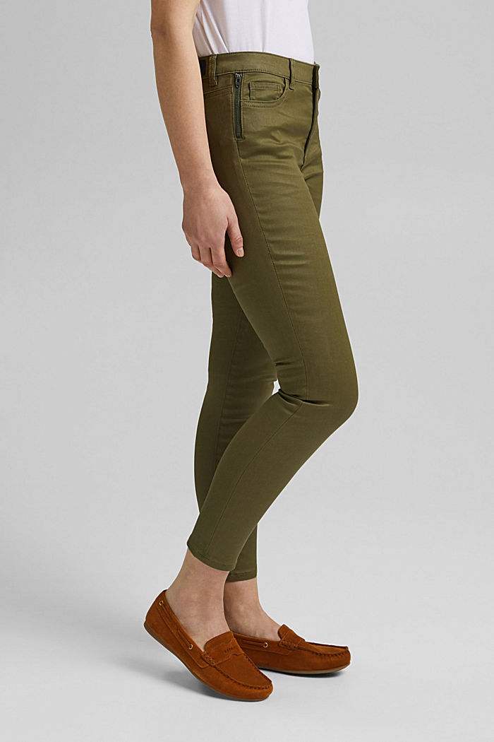 Coated stretch trousers, KHAKI GREEN, detail image number 0