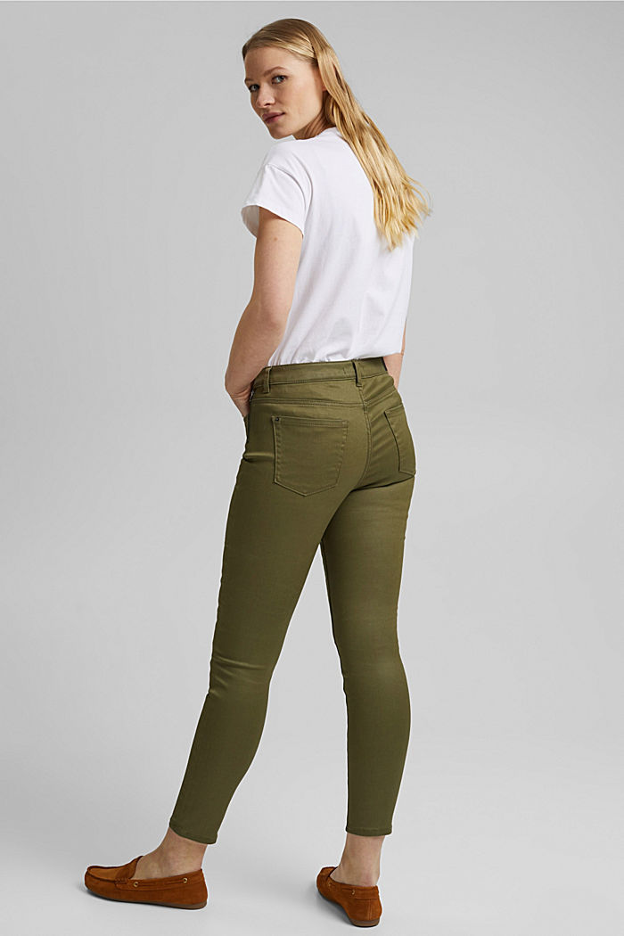 Coated stretch trousers, KHAKI GREEN, detail image number 3