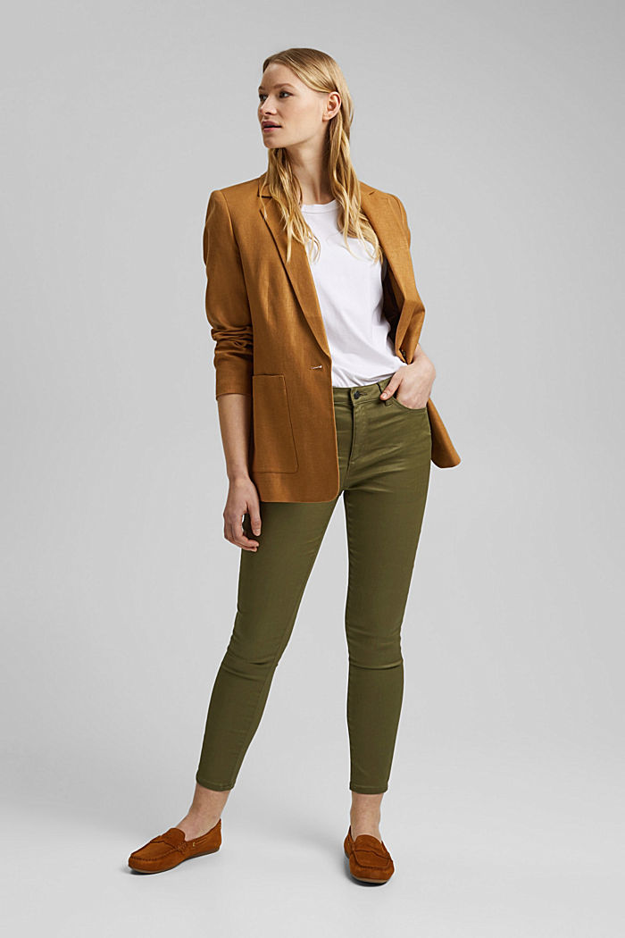 Coated stretch trousers, KHAKI GREEN, detail image number 1
