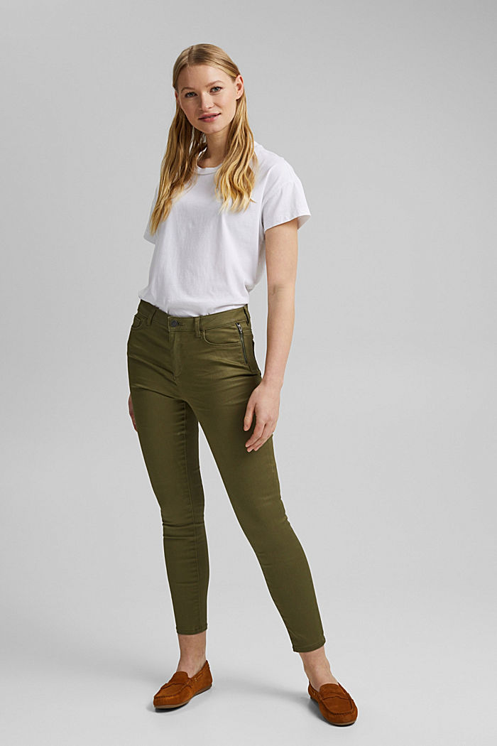 Coated stretch trousers, KHAKI GREEN, detail image number 6