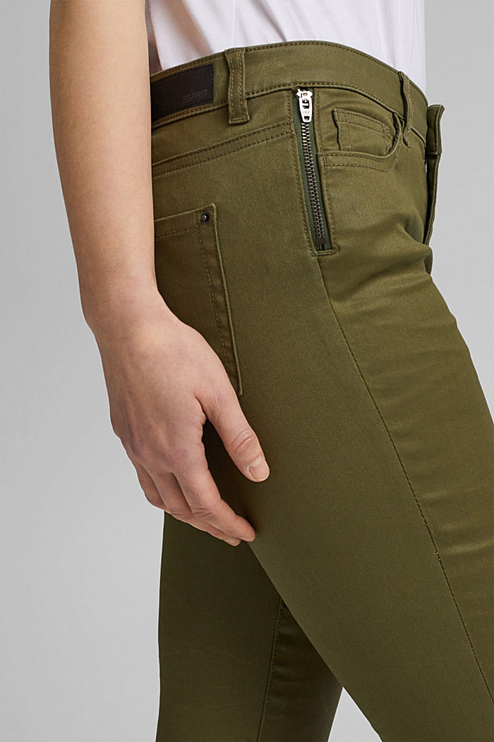 Coated stretch trousers, KHAKI GREEN, detail image number 2