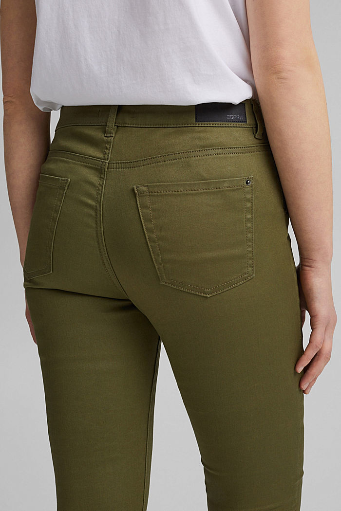 Coated stretch trousers, KHAKI GREEN, detail image number 5