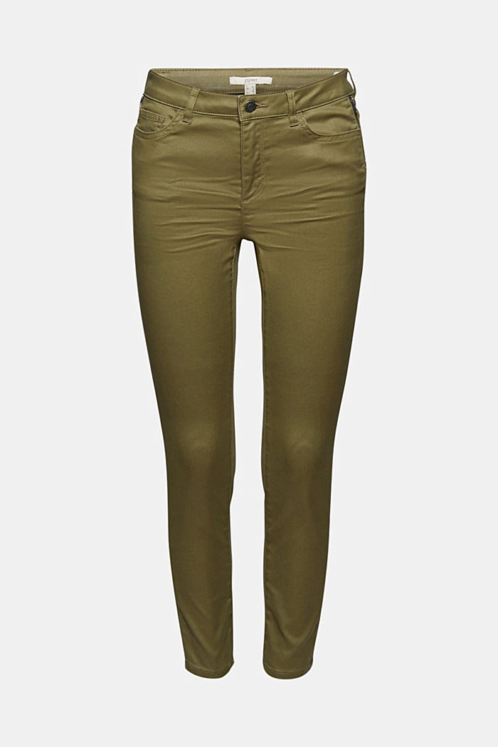 Coated stretch trousers, KHAKI GREEN, overview