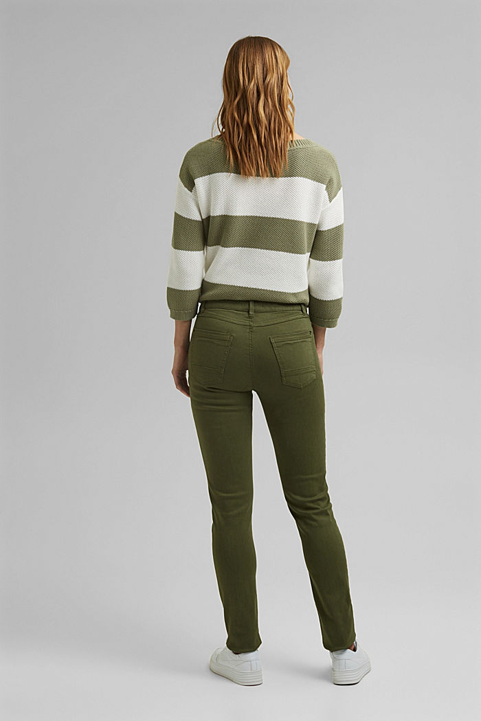 Washed-effect stretch trousers, KHAKI GREEN, detail image number 3