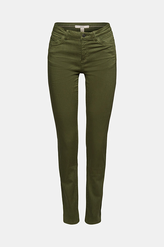 Washed-effect stretch trousers