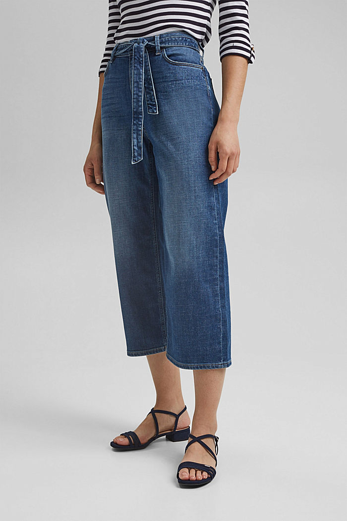 Denim culottes containing organic cotton, BLUE DARK WASHED, detail image number 0