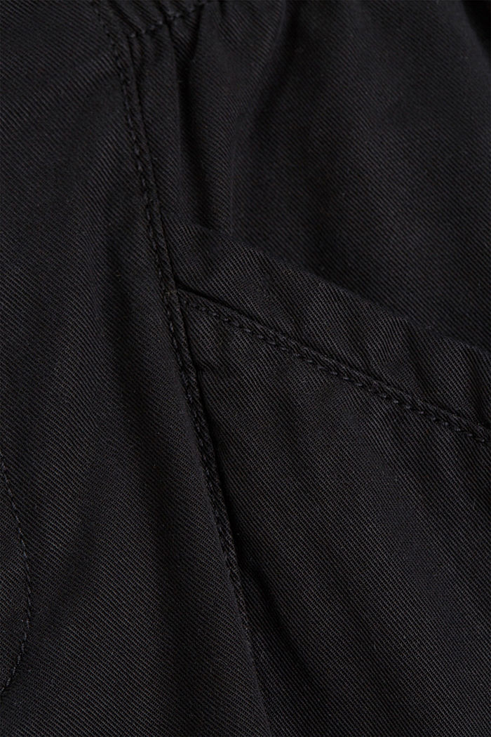 Paperbag trousers made of lyocell/organic cotton, BLACK, detail image number 4