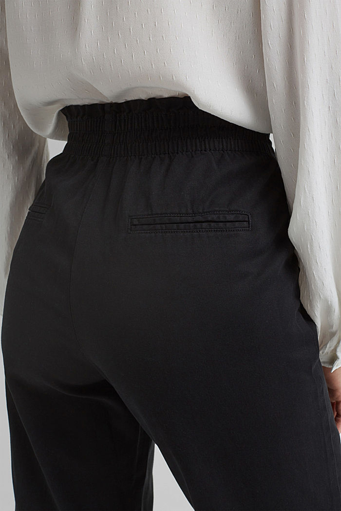 Paperbag trousers made of lyocell/organic cotton, BLACK, detail image number 5
