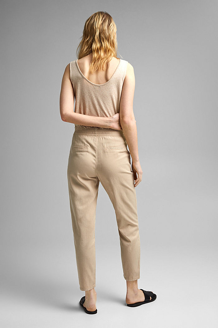 Paperbag trousers made of lyocell/organic cotton, BEIGE, detail image number 3