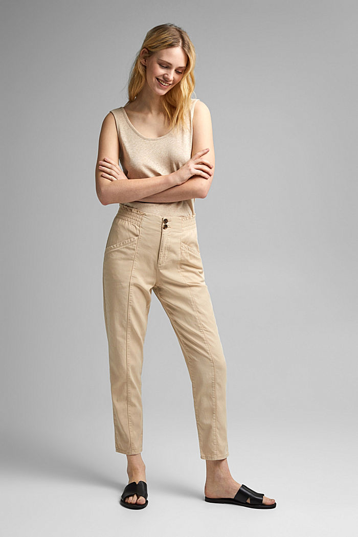 Paperbag trousers made of lyocell/organic cotton, BEIGE, detail image number 6