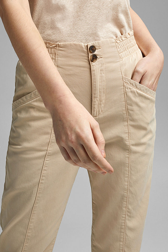 Paperbag trousers made of lyocell/organic cotton, BEIGE, detail image number 2