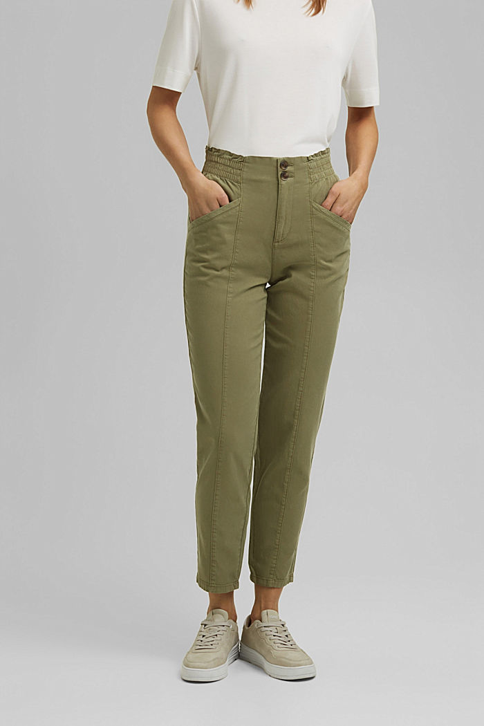 Paperbag trousers made of lyocell/organic cotton, LIGHT KHAKI, detail image number 0